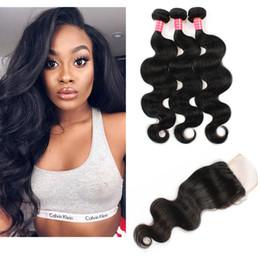 Discount human hair bundles closure deal - Peruvian Body Wave Bundles With Closure 3 Bundle Deals Human Hair Weave With Lace Closure 7A Peruvian Body Wave