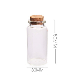 Chinese  25ml Mini Glass Clear Wish Cork Vial Wood Stoppers 28x65X12.5mm(HeightxDia) Message Weddings Jewelry Party Favors Bottle Jar Tube manufacturers