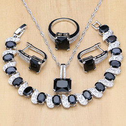 black bridal jewelry sets NZ - 925 Silver Bridal Jewelry Black Stone White CZ Jewelry Sets For Women Wedding Earrings Pendant Necklace Rings Bracelet