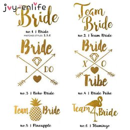 gold candy boxes UK - JOY-ENLIFE 1pcs Gold Flash Team Bride Flamingo Pineapple Temporary Tattoo Wedding Party Decor Hen Party Supplies Photo Props