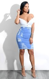 Wholesale jeans pencil skirt for sale - Group buy Sexy Skirt Women Denim Casual High Waist Jeans Skirts Knee Length Slim Ladies Midi Pencil Skirt Jupe En Jean
