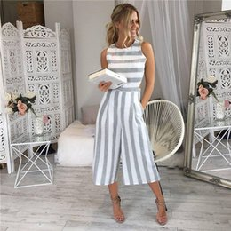 Woman Jumpsuit Round Neck NZ - New Fashion Women Striped Printed Jumpsuit Clothes Round Neck Summer Sleeveless Wide Leg Playsuit For Female