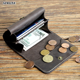 vintage handmade cards 2019 - SIMLINE Genuine Leather Men Wallet Vintage Handmade Short Wallets Purse Card Holder With Coin Pocket Male cheap vintage