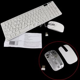 $enCountryForm.capitalKeyWord Canada - 1 Set White Wireless 2.4G Optical Keyboard and Mouse USB Receiver Kit For PC New