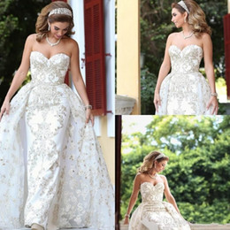 Modest Wedding Dress Sheath Lace Australia - Vintage Sweetheart Sheath Wedding Dresses With Detachable Train Crystal Bridal Gowns Lace Appliqued Modest Garden Wedding Dress