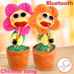 Music song Mp3 online shopping - Novelty electric sunflowers Toy singing Music Sexy Musical enchanting Flower Dancing Saxophone Stuffed bluetooth play and build in songs