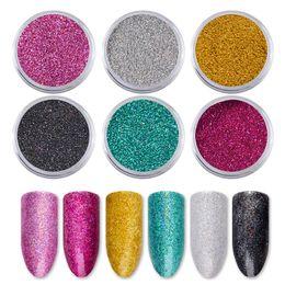$enCountryForm.capitalKeyWord NZ - Holographic Laser Nail Powder Dust Sandy Matte Designs Nail Glitter Decorations Charm Nail Art Pigment DIY Manicure Sets 6pcs set