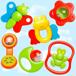 Wholesale Plastic Baby Rattles Australia - Wholesale- New 6pcs lot Lovely Plastic Baby Toys Hand Shake Bell Ring Rattles toys Baby Educational Toys Jingle Rattle Toddler