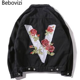 Discount v blue jeans - Bebovizi Brand Hipster Men V Rose Embroidery Denim Jackets Retro Ripped Casual Streetwear Hip Hop Black B Slim Jeans Jac