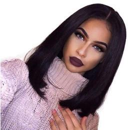 color bob wigs UK - 150 density Bob lace Front wigs Silky Straight Brazilian Human Hair Pre Plucked Natural Hairline full Lace human hair wigs