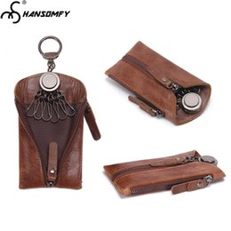$enCountryForm.capitalKeyWord NZ - Original vintage Genuine Leather car key bag fashion casual 6 Key holder small Zipper wallets leather keychain