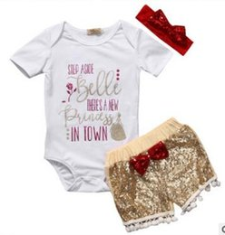 short hair pieces styles NZ - Baby girl INS letters rompers suit 7 Style Children Short sleeve triangle rompers+paillette shorts+bowknot Hair band 3pcs sets clothes
