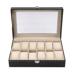 $enCountryForm.capitalKeyWord Canada - 12 Grid Slots PU Leather  Watch Display Box Watches Case Jewelry Storage Holder Organizer Free Shipping