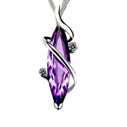 $enCountryForm.capitalKeyWord UK - 925 pure Silver Amethyst Necklace, Japanese and Korean clavicle chain pendant lady to give girlfriend birthday Valentine's Day gift jewelry