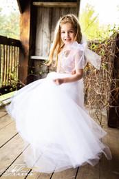 Precioso hombro una línea larga superior lentejuelas vestidos de las muchachas de la flor cremallera Tulle niños vestidos de novia niñas desfile vestidos