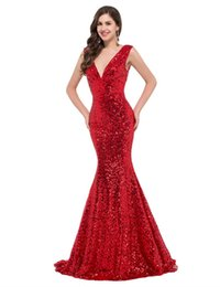 $enCountryForm.capitalKeyWord UK - Sexy hot-selling red sequins sparkling deep V-neck shoulder straps with 7 slices of fish tail and buttock dress tail dress for prom