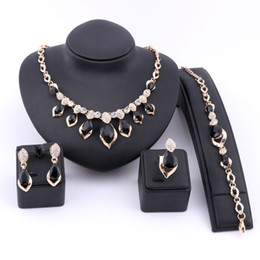 Jade Dresses Australia - Wedding Dress Costume Women Party Gold Color African Beads Jewelry Sets Crystal Black Gem Necklace Bracelet Earrings Ring