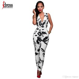 296128e60f5 Wholesale- IDress Fashion Jumpsuit OL Business Macacao Clothes Sexy Deep V  Sleeveless White Black Irregular Print Bandage Bodycon Bodysuit