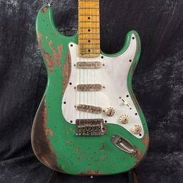 aged custom guitars 2018 - Free Shipping Custom shop green 100% handmade st alder body electric guitar relic aged professional hardware guitars che
