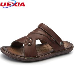 Cool Rubbers Canada - UEXIA Men Sandals Summer Leather Outdoor Casual Shoes Men Top Quality Cool Soft Rubber Sole Beach Flats Gladiator High Quality
