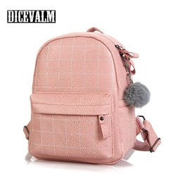 $enCountryForm.capitalKeyWord NZ - Women Backpack Small Leather Shoulder Bags For Girls Female Bag Fashion Deaign Solid Color Back Pack With Ball Mochila Feminina