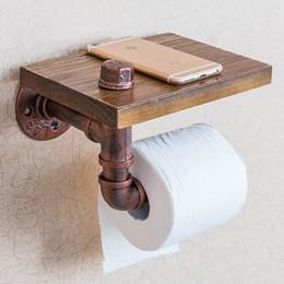 Vintage Holz Papierhalter Badezimmerregale Industrielle Retro Eisen Toilettenpapierhalter Badezimmer Hotel Rollengewebe Hängende Rack Holzregal im Angebot