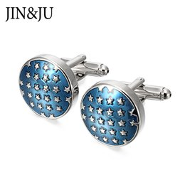 mens shirts studs Canada - JIN&JU High Quality Blue Star Cufflinks Round Enamel Star Cuff links for Mens Shirt Studs Gift Lawyer Relojes gemelos
