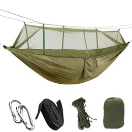 Relaxing Beds Australia - 1-2 Person Portable Outdoor Hammock Camping Hanging Sleeping Bed With Mosquito Net Garden Swing Relaxing Parachute Hammock