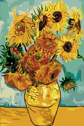 sunflowers canvas oil painting 2019 - Van Gogh Vase with Twelve Sunflowers Fine Art Giclee Canvas Print Art on Canvas Wall Art Oil Painting Poster Picture Off