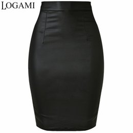 China LOGAMI Women Faux Leather Skirt Pencil High Waist Skirts Womens Skirt Black Midi Saia Couro Jupe Simili CuirY1882501 supplier faux long leather skirt suppliers