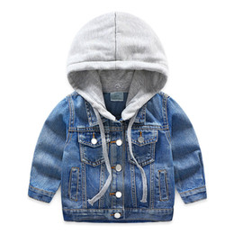 Wholesale Baby Hat Denim Jacket Autumn New Boy Suit Children s Single Breasted Top Baby Boy Wear Children Single Breasted Jacket