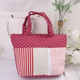 Discount cheap designer satchel handbags wholesale cheap dots printed canvas new designer beach bag retro Women Ladies clutches Handbag free shipping