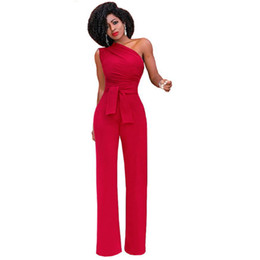 cf3761580ac Sexy Women Sleeveless Jumpsuit Overalls Romper One Shoulder Sash Wide Leg  Pants Ladies Strapless Party Evening Casual Jumpsuit