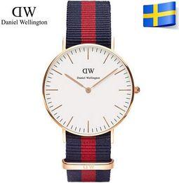 Round Level Canada - Top level Daniel Brand 15 colors Classic 36 40mm watch Watch For Men Women Nylon Strap Military Quartz Wristwatch D&W Watches