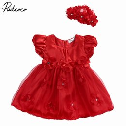 $enCountryForm.capitalKeyWord UK - Fashion red flower ornament Baby Girls Dresses Sleeve Flower Ball Gown Toddler Kid Red Dress Headband Casual Outfits New 0-18M