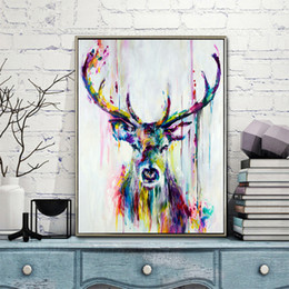 TripTych canvas prinTs online shopping - WANGART Big Triptych Watercolor Deer Head Posters Print Abstract Animal Picture Canvas Painting No Frames Living Room Home Decor