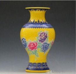 Chinese Porcelain Pendants Australia - Wholesale - Chinese Jingdezhen Famille Rose Porcelain Hand-painted Peony Vase 01