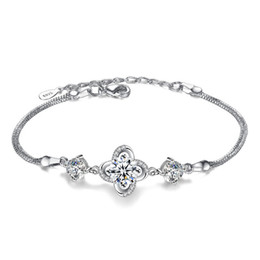 friendship plates Australia - Trendy Bracelets Bangles For Women Cubic Zirconia Crystal Elegant Friendship Fashion Flower Charms Bracelets Jewelry White Gold Plated WHK15