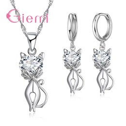 beautiful earrings girls 2018 - GIEMI Cute Party Animal Jewelry Sets for Girls Lovely Cat Pendant Necklace Earrings 925 Silver Set Beautiful Engagement