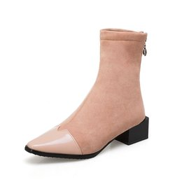 Fashionable low heels online shopping - Sexy high heeled shoes fashionable boots pointed tips handmade elastic boots