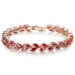 Chinese  AAA Red Zircon Bracelet with Small Leaves Shape Zircon Rose Gold Plated Color Perimeter 17cm 19cm for Women BR0130 manufacturers
