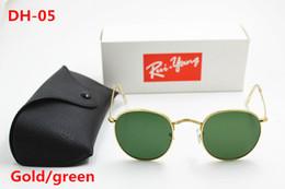 Discount designer sunglasses dark lenses - HOT 1pcs High Quality Fashion Round Sunglasses Mens Womens Designer Brand Sun Glasses Green Dark 50mm Glass Lenses Bette