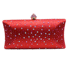 Crystal Box For Case NZ - Red Hard Case Box Clutch Crystal Evening Bags for Womens Party Wedding Bridal Clutch Wallet Crystal Clutches