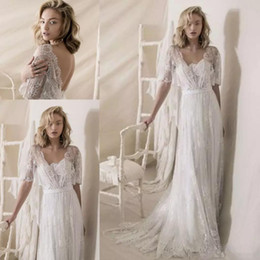 Cheap vintage plus size dresses online shopping - 1950s Lace Wedding Dresses Lihi Hod Lace Wrap Vintage Low Back Bohemian Country Wedding Gowns Sweep Train Cheap