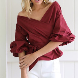 Discount striped shirts for women - Women Summer Tops Puff Sleeve White Blouse blusas with Belt Woman Sexy V Neck Shirt Elegant striped Formal Clothing for