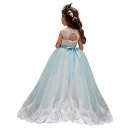 Red White Blue Tutus UK - White Ivory Lace Long Beading Sash Kids TUTU Flower Girl Dresses First Communion Party Princess Gown Bridesmaid Wedding Formal Dress 45
