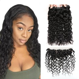 Cheap virgin brazilian human hair Closures online shopping - Water Wave Virgin Hair Extensions Ishow Human Hair Bundles With Closure Cheap A Brazilian Hair Bundles With Lace Frontal