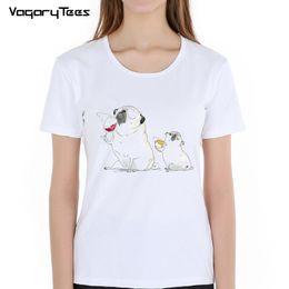 $enCountryForm.capitalKeyWord Canada - Funny Cute Pug Drinking Wine Cartoon Print T-Shirts Women White Tops Soft Parody Women T Shirts