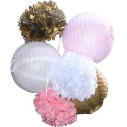 Inch Pom Balls NZ - 6 Pcs Set 8 Inch Handmade Paper Lantern Wedding Paper Flowers Ball Pom Poms For Wedding Home Baby Shower Decoration