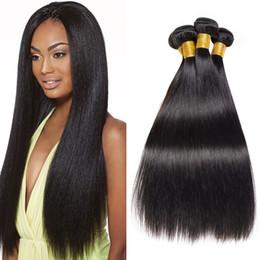 b2ac8f2f6d884 Brazilian Straight Hair Bundles 3 Pieces 16 18 20 Inch Human Hair Weave  Bundles Natural Black Brazilian Human Hair Weave for Sale
